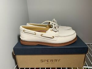 SPERRY Top Sider Men's Gold Cup Ivory Nubuck Leather Boat Shoes Size 7 M NEW