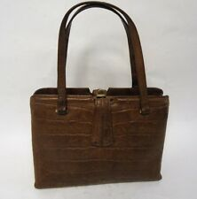 VINTAGE BROWN CROC PRINT LEATHER FRAME HANDBAG BAG RETRO