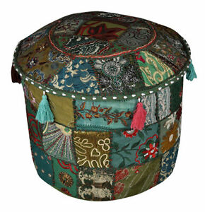 Indian Handmade Dark Green Pouf Cover Bohemian Ottoman Stool Floor Chair Pouffe