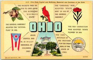 Vintage 1946 OHIO Greetings Postcard w/ State Bird, Flag Flower & Capitol LINEN