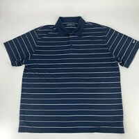Nike Golf Mens Pullover Polo Shirt Size XL Navy Blue Stripe Dri Fit Short Sleeve