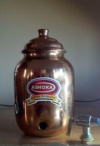 Ashoka 100% Copper Handmade 1L Water Dispensing Pot Tank Matka with Tap Ayurveda