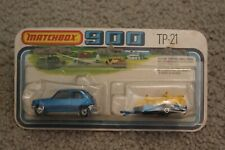 Vintage Matchbox Superfast 900 TP-21 Renault 5TL & Motorcycle Trailer Blue