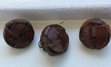 Set 3 Vintage Leatherplaited With Metal Shank Buttons -1.5 Cm Diam- Free, Post.P