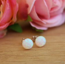 White Fire Opal Stud Post Earrings Silver Sterling Women Jewelry 6MM Gemstone