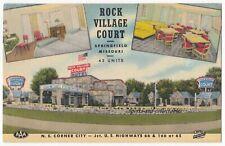 SPRINGFIELD, MO - ROCK VILLAGE COURT HOTEL - 1950s Advert Pcd - RTE 66 INTEREST