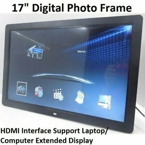 "17"" Digital Photo Frame LED HD 1080P Display Extended Monitor With Remote Black"