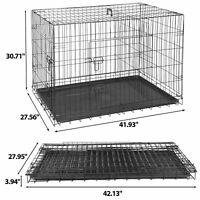 """42"""" Metal Pets Dog Crate Double Door Folding Metal Dog Crates Fully Equipped"""