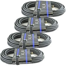 NEW 4 PACK 25' Feet ft foot 3pin XLR MICROPHONE MIC CABLES  THICK 16 gauge wire