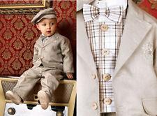 ABITO da BATTESIMO vestito in LINO beige grigio  tg 68 (4-6 mesi) cod 739