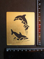 Brass/stencil/Oblong/Dolphin/Dolphins/Swimming/Sea/emboss