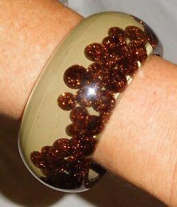 Sobral Planet Fashion Venus PB34 Copper Glitter & Taupe Bracelet Brazil Import
