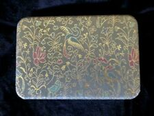Vintage Jewelry Box Brocade Type Fabric Cover with Birds