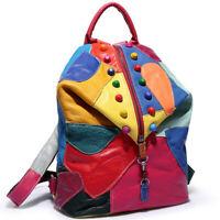 Sheepskin Leather Women's Colorful Blocks Patchwork Backpack Travel Bag Rucksack