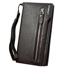Rfid Leather Wallet Purse Zipper Wallet Long Clutch Wallet Strap Unisex Black