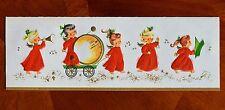 "Vintage UNUSED Christmas Card EMBOSSED 9"" ANGELS MUSICAL BAND Mid-Century"