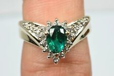 Women's 1.5 ctw GIA SPEC Emerald & Diamond Ring Set in 14k Solid Gold Ring