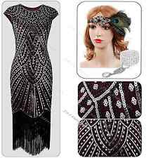 Flapper 1920s Dress Sequin Gatsby Charleston Black Party Fancy Tassel Costume