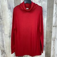 Sahalie Women's Size XXL Turtleneck Sweater Tunic Red Long Sleeve Cable Knit