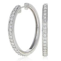 1.00ctw Round Brilliant Diamond Earrings - 14k White Gold Pierced Hoops