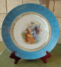 "10"" AUSTRIA Beehive Mark Plate Dish MAN & WOMAN Mandolin Courting Couple Gold"