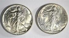 (2) 1942 Walking Liberty Half Dollars Choice Bu Lot 481