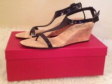 NIB $140  Vaneli Marion Black Patent Leather Wedge Sandal Heel Womens 6 1/2 M