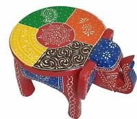 Elephant Shaped Handcrafted Handpainted Wooden Stool Cum Side Table Furniture