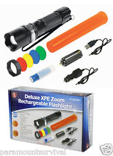 Deluxe 3 Watt Cree XPE LED Zoom Rechargeable Flashlight 120 Lumens 4 Filters