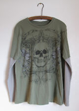 MMA Elite Green Skull Distressed Cotton T-Shirt Long Thermal Sleeves Size Large