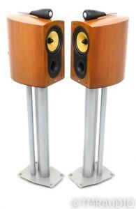 B&W Nautilus 805 Bookshelf Speakers; Cherry Pair w/ Stands