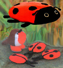 LADYBIRD & ROBIN TOYS & CUSHION TO KNIT,   LAMINATED KNITTING PATTERN GASTON