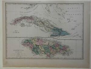 Cuba & Jamaica Caribbean Islands Havana Kingston 1875 Weller large engraved map