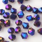 50pcs 6mm Bicone Faceted Crystal Glass Charms Loose Spacer Beads Purple Plated