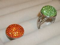 Authentic Green & Orange Czech Crystal .925 Silver Ring Sz 9 NWT