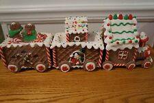 Christmas Decorative Lighted Ginger Bread Holiday Display Train Set