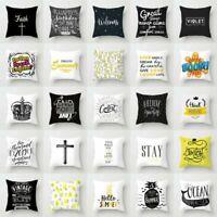 Black White Letter Polyester Pillow Case Sofa Throw Cushion Cover Home Decor
