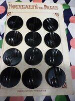 lot 6  boutons anciens  noirs  ,30mm= 2trous ,manteaux veste= neufs paris