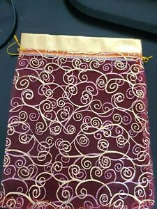 Organza Gift Bags Red-gold Printed Flat Pouch 7.5*9.5