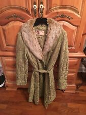 Vintage Ladies Jacket with Faux Fur Collar Size Large Belted