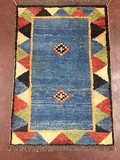 "Sale Handmade Blue Persian Abadeh-Shiraz Geometric Gabeh Rug Carpet 2x3,2'1""x3'"