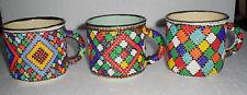 LOT 3 Vintage African Beaded Steel Mug Cup Green Yellow Enamel Multi Color Beads
