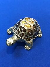 Enameled Pewter Bejeweled Trinket Box - Small Tortoise / Turtle, Free Shipping