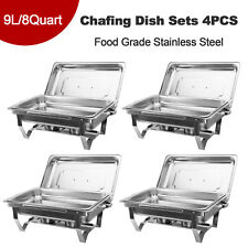 More details for 9l/8q 4 pack chafer chafing dish sets pans stainless steel catering food warmer