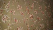 SAGE GREEN GOLD ORANGE FLORAL REVERSIBLE CHENILLE UPHOLSTERY FABRIC