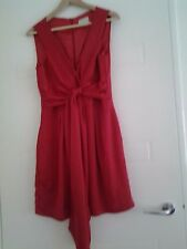 Review Red Silk Dress Size 12, Fully Lined, Designer, Bow or Tie Front/Back