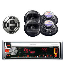 "Kenwood Marine Bluetooth CD MP3 USB Radio w/ 4x 6.5"" Speakers and Wired Remote"
