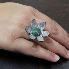 Pave Diamond Sterling Silver Floral Cluster Ring Gemstone Emerald NEW ARRIVALS!!
