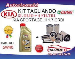 KIT TAGLIANDO KIA SPORTAGE III 1.7 CRDI 85KW + 5L OLIO CASTROL 5W40 DAL 11/10->