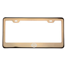 Rose Gold Laser Etched Fit Nissan Logo License Plate Frame w/Cap Stainless Steel
